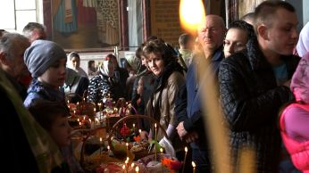Moscow easter church celebration